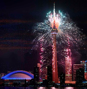 Image of the CN Tower with fireworks
